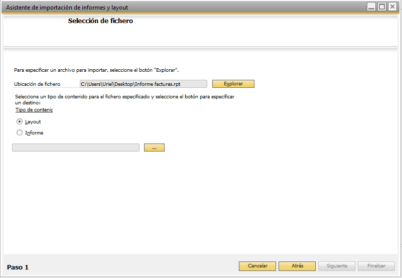Paso 1 Importar informes a SAP Business One
