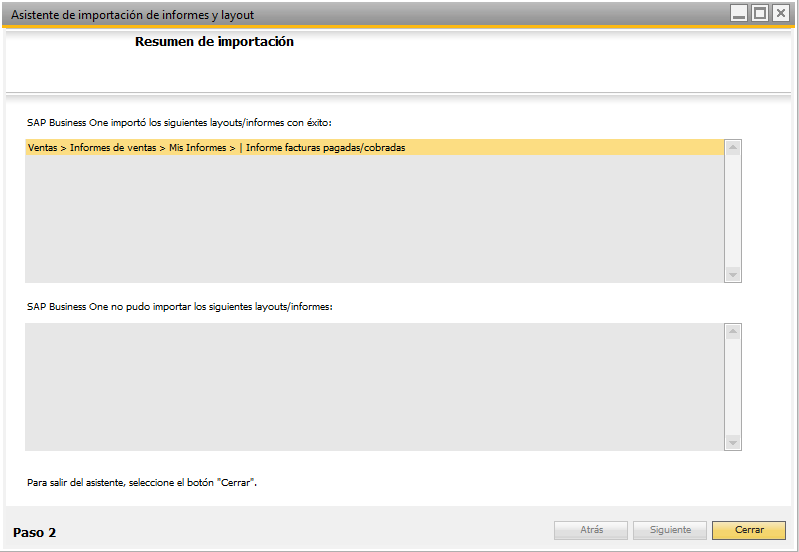 Paso 6 Importar informes a SAP Business One