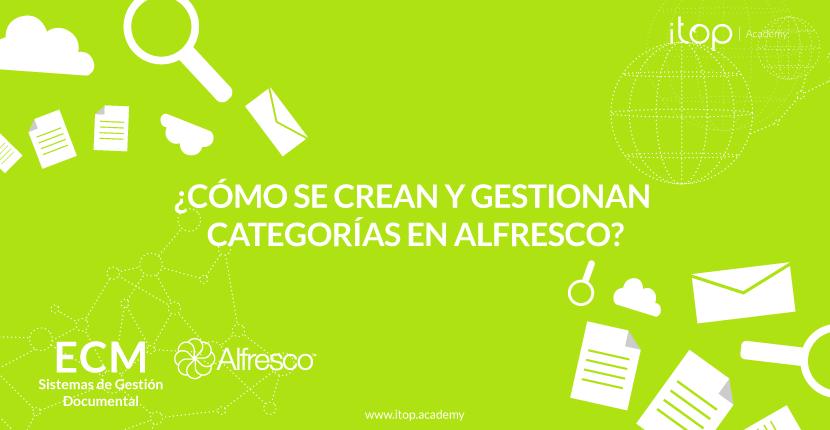 ¿Cómo se crean y gestionan categorías en Alfresco?